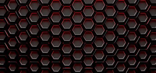 Dark Red Hexagon Grill Background (3D Illustration)