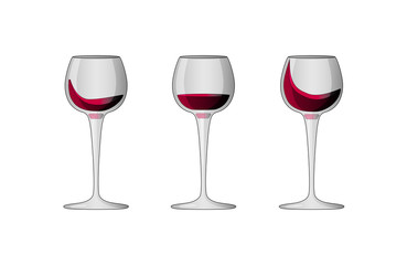 Vector illustration of 3 wineglasses with red wine