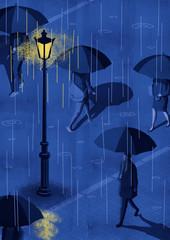 雨の街の人々