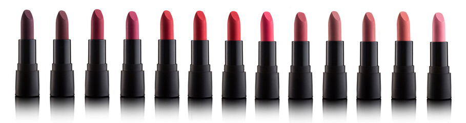 Palette of color lipsticks isolated on white