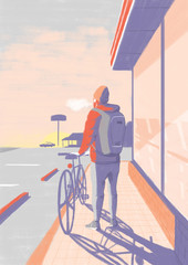 朝焼けの中の男性と自転車