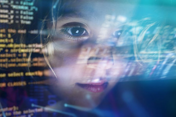 new technologies, a child uses a futuristic processor for augmented reality. high technology and...