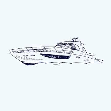 Motor yacht type, hand drawn doodle, sketch, black and white vector illustration
