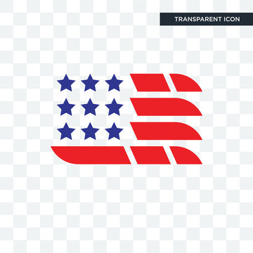 american flag vector icon isolated on transparent background, american flag logo design