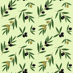 green and black olives branches with green leaves oil pattern on light green background seamless vector