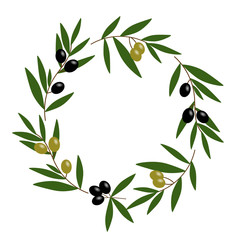 black and green olive wreath with green leaves illustration vector