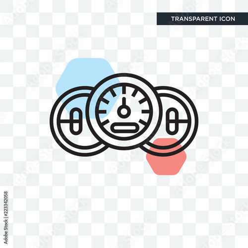 Speedometer vector icon isolated on transparent background