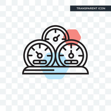 Tachometer vector icon isolated on transparent background, Tachometer logo design