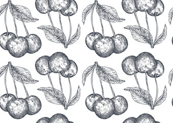 Vector seamless pattern with hand drawn cherry berries in sketch style.