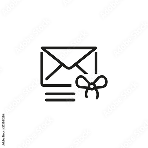 Gift Card By Mail Line Icon Information Shopping Invitation Message Concept Vector Illustration Can Be Used For Topics Like Birthday