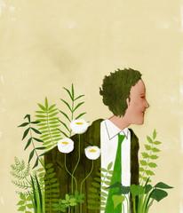 草花と男性