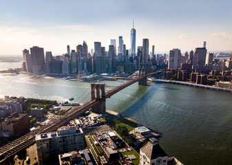 Manhattan bridge New York city aerial view