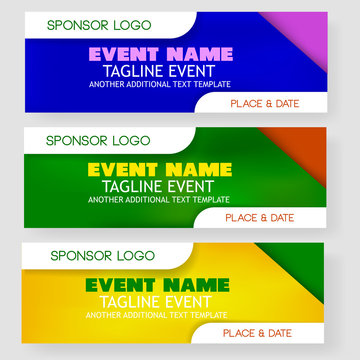 three style Blank Template event banner or backdrop with sponsor logo placement area