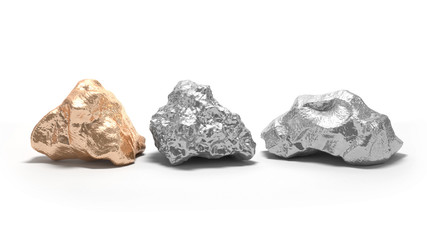 Three nuggets on a white background. Silver and gold. 3d rendering.