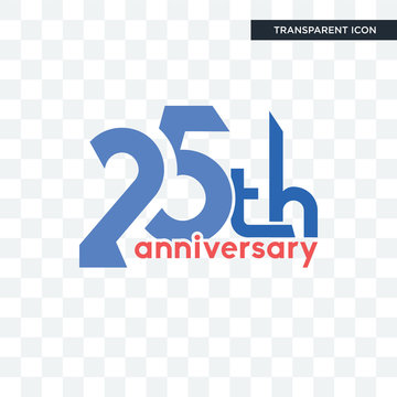 25th anniversary vector icon isolated on transparent background, 25th anniversary logo design