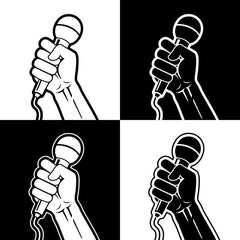 Set of vector illustrations - hand holding microphone in a fist. Light and dark versions on white and black backgrounds.