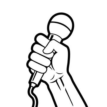 Stylized black and white vector illustration of hand holding microphone in a fist.