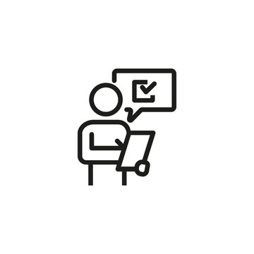 Man putting down results or answers line icon. Auditor, estimator, client. Survey concept. Vector illustration can be used for topics like business, marketing, service