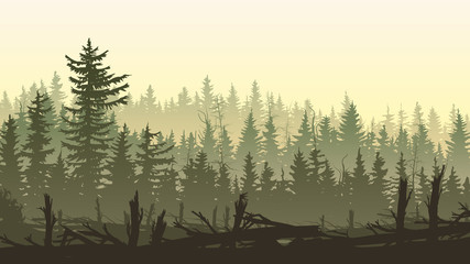 Horizontal illustration with silhouettes of windbreak forest.