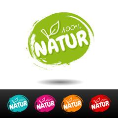 Wall Mural - Set of vegan food badges. 100% nature. Vector hand drawn labels.