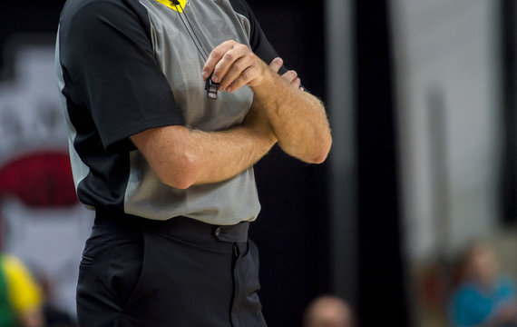 Basketball Referee with whistle