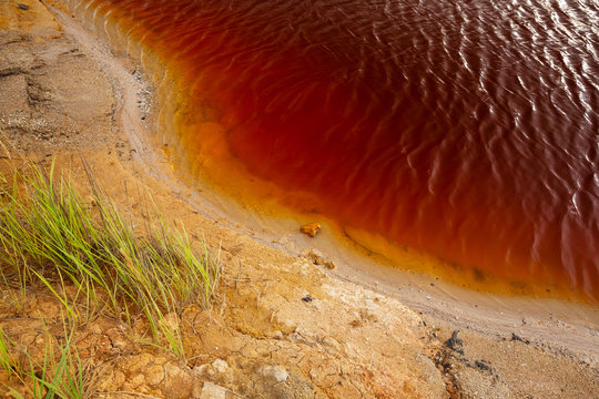 nature disaster, lake with polluted water