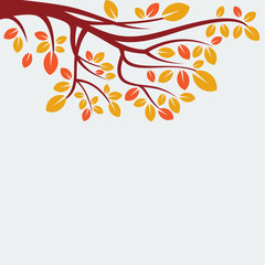 autumn tree isolated vector, nature leaf background