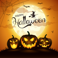 Halloween night background with pumpkin,vector illustration