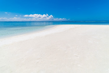 Empty tropical beach scene. Sea sand sky. Tranquil, inspirational beach background