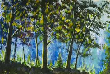 Beautiful green trees in the forest - rural landscape, bright nature - handmade painting on canvas