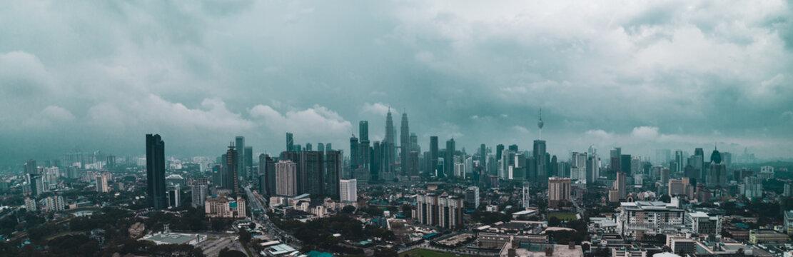 Aerial view of Kuala Lumpur during hazy day. Kuala Lumpur is the capital city of Malaysia