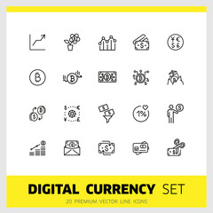 Digital currency icons. Set of line icons. Bitcoin, mining, credit card. Money concept. Payment and earning concept. Vector illustration can be used for topics like finance, web money, business