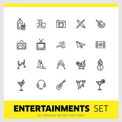 Entertainments icons. Set of line icons. Painting, kayaking, dancing. Leisure concept. Vector illustration can be used for topics like pastime, hobby