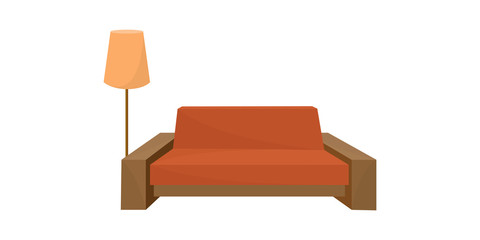 Sofa and floor lamp. Vector illustration.