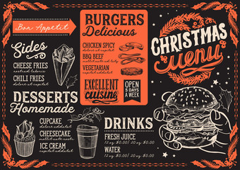 Christmas menu template for burger restaurant and cafe on a blackboard background vector illustration for xmas dinner celebration. Design poster with vintage lettering and holiday graphic.