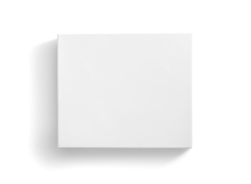 Blank white box top view isolated on white background with clipping path