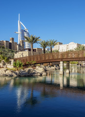Foto op Canvas Dubai Medinat Jumeirah and Burj Al Arab Luxury Hotel, Dubai, United Arab Emirates