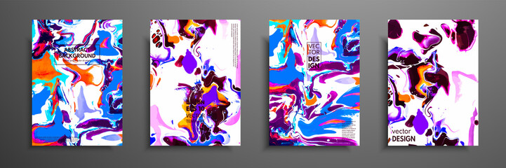 Fototapete - Covers with acrylic liquid textures. Colorful abstract composition. Modern artwork. Vector illustrations with mixed blue, green and white color. Applicable for design placard, flyer, poster