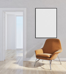Modern bright interiors apartment with mock up poster frame illustration 3D rendering computer generated image