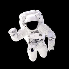 Astronaut in spacesuit close up isolated on black background. Spaceman in outer space. Elements of this image furnished by NASA