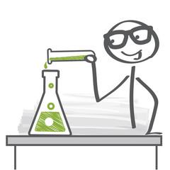 Chemiker führt Experiment in Labor durch - Vektor Illustration