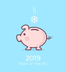 2019 Zodiac Pig. Piggy bank snowflake winter. Chinese calendar for the year of pig 2019