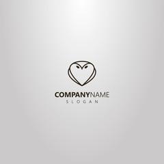 black and white simple vector line art outline logo of owl shape