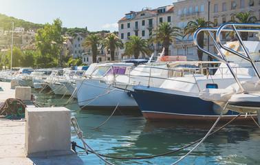Boat harbor of the old town Split in Croatia.