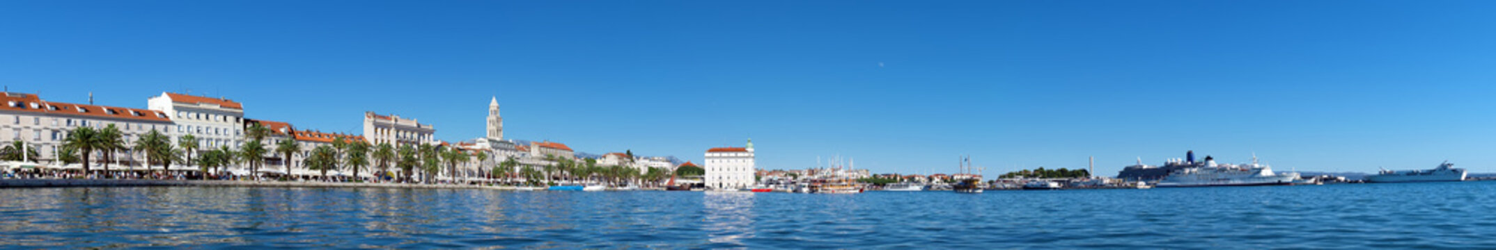 Panoramic view of the old town Split in Croatia.