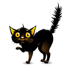 Black cat is afraid. Vector illustration on isolated background