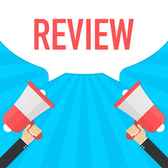 Hand Holding Megaphone with Review. Vector illustration.
