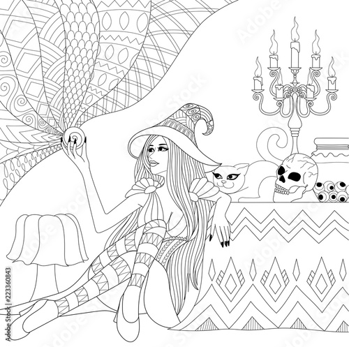 Colouring Pages Coloring Book For Adults Halloween Girl Or Witch
