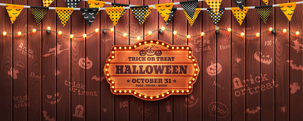 Happy Halloween background with string light and Halloween buntings on wood background.Website spooky or banner template.Vector illustration EPS10