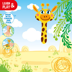 Draw giraffe using your hand and fingers. Look at tips in corner of pic and do the same. Paint giraffe body suitable colors. Educational activity for kid. Learn and play together. Vector isolated